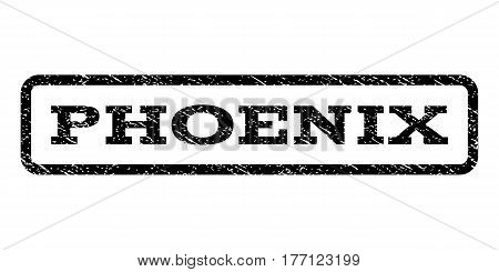 Phoenix watermark stamp. Text caption inside rounded rectangle with grunge design style. Rubber seal stamp with dust texture. Vector black ink imprint on a white background.