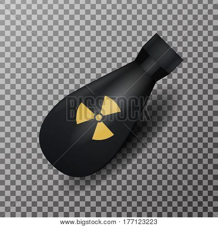 Vector realistic nuclear bomb oh the transparent background. Concept of war and radiation.