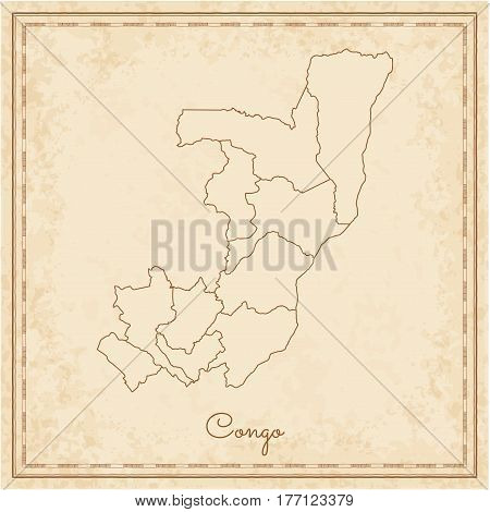Congo Region Map: Stilyzed Old Pirate Parchment Imitation. Detailed Map Of Congo Regions. Vector Ill