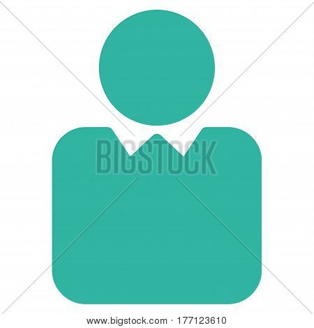 Person vector icon. Flat cyan symbol. Pictogram is isolated on a white background. Designed for web and software interfaces.