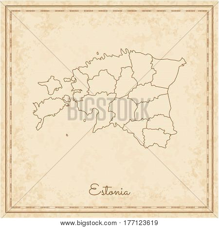 Estonia Region Map: Stilyzed Old Pirate Parchment Imitation. Detailed Map Of Estonia Regions. Vector