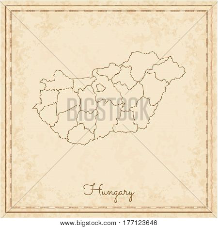 Hungary Region Map: Stilyzed Old Pirate Parchment Imitation. Detailed Map Of Hungary Regions. Vector
