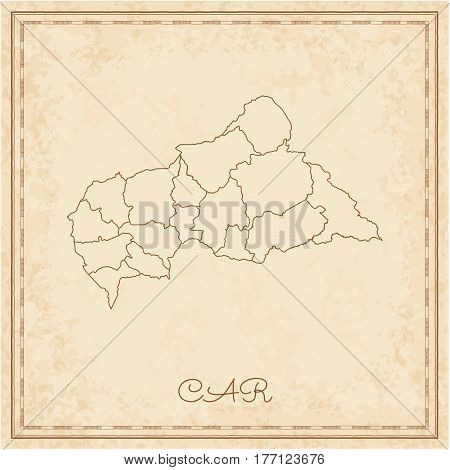 Car Region Map: Stilyzed Old Pirate Parchment Imitation. Detailed Map Of Car Regions. Vector Illustr