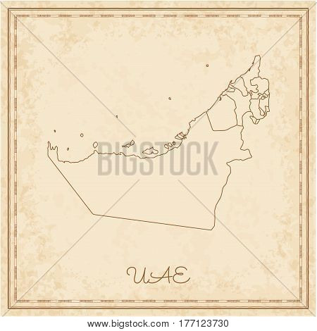 Uae Region Map: Stilyzed Old Pirate Parchment Imitation. Detailed Map Of Uae Regions. Vector Illustr