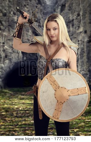 female warrior getting ready to fight a dragon