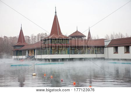 Lake Heviz at winter in Hungary. Heviz lake is the 2nd largest natural thermal lake in the world.