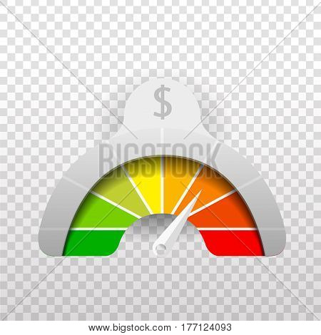 Vector realistic meter of dollar currency value on the dark background.