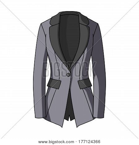 Grey Women's jacket with pockets. Work austere style.Women clothing single icon in cartoon style vector symbol stock web illustration.