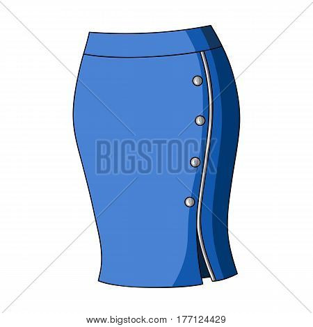 Blue-fitting skirt with slit and buttons. Part strict working style of clothing.Women clothing single icon in cartoon style vector symbol stock web illustration.