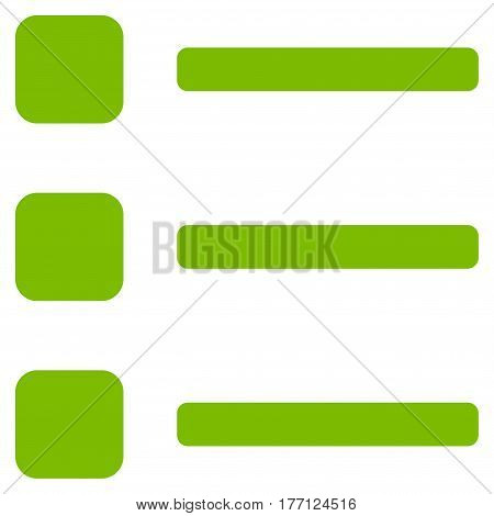 Items vector icon. Flat eco green symbol. Pictogram is isolated on a white background. Designed for web and software interfaces.