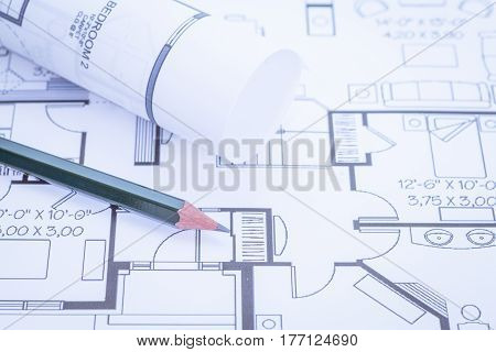 Architect rolls and plans Architectural plan Technical project drawing