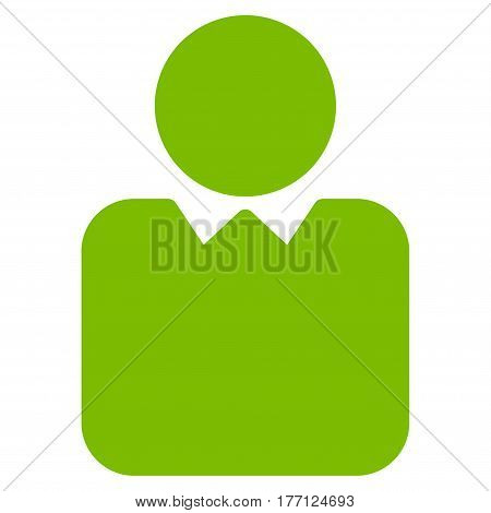 Person vector icon. Flat eco green symbol. Pictogram is isolated on a white background. Designed for web and software interfaces.