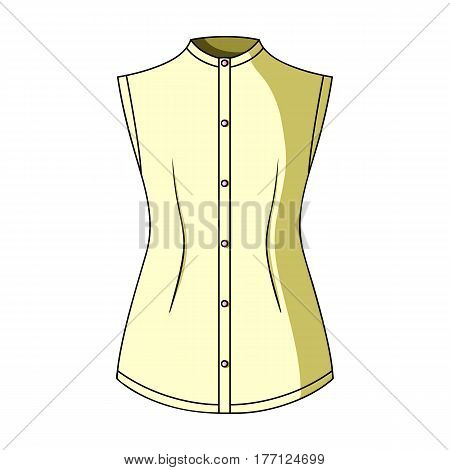 Beige button-down shirt without sleeves for the girl. Casual dress style.Women clothing single icon in cartoon style vector symbol stock web illustration.