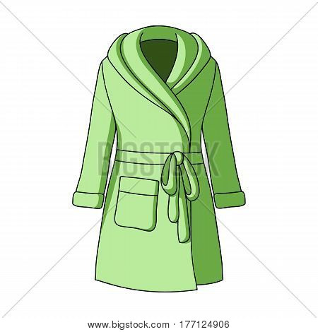 Green lady's gown after bath.  Woman clothes single icon in cartoon style vector symbol stock web illustration.