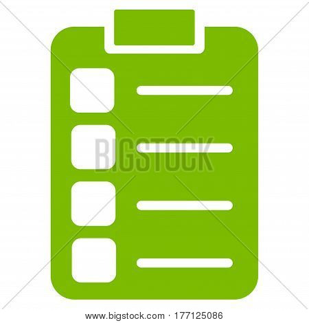 Tasks vector icon. Flat eco green symbol. Pictogram is isolated on a white background. Designed for web and software interfaces.
