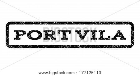 Port Vila watermark stamp. Text caption inside rounded rectangle with grunge design style. Rubber seal stamp with dust texture. Vector black ink imprint on a white background.