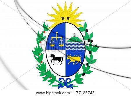 3D Uruguay Coat Of Arms. 3D Illustration.