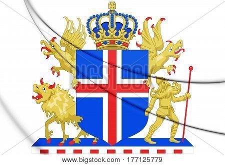 Kingdom Iceland Coat Of Arms. 3D Illustration.