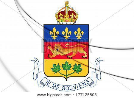 Quebec Province Coat Of Arms, Canada. 3D Illustration.