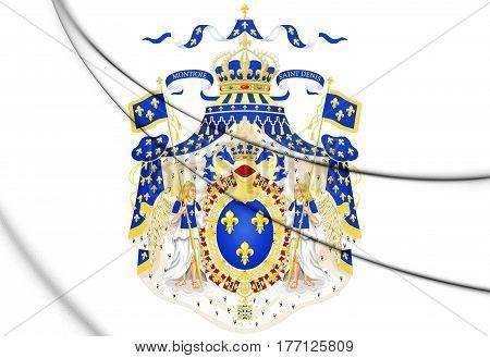 Royal Coat Of Arms Of France. 3D Illustration.