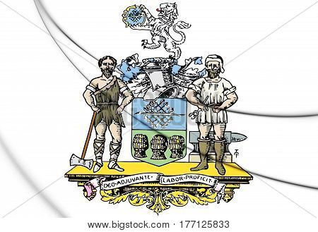 Sheffield Coat Of Arms, England. 3D Illustration.
