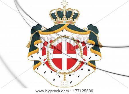 Sovereign Military Order Of Malta Coat Of Arms. 3D Illustration.