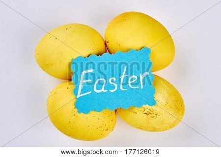 Chicken eggs on white background. Easter greeting card. Holiday for christians.