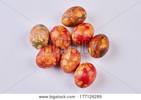 Colored eggs on white background. Easter eggs isolated. Symbol of Christian holiday.