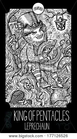 King of pentacles. Leprechaun. Minor Arcana Tarot card. Fantasy line art illustration. Engraved vector drawing. See all collection in my portfolio set