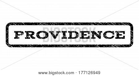 Providence watermark stamp. Text tag inside rounded rectangle frame with grunge design style. Rubber seal stamp with dirty texture. Vector black ink imprint on a white background.