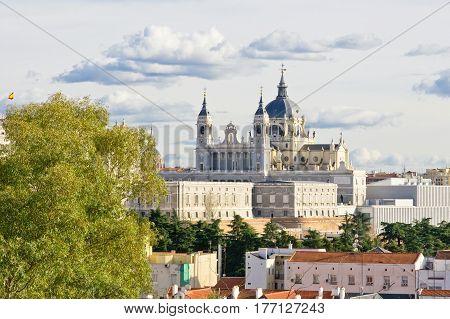 Western side of Santa Maria la Real de La Almudena cathedral in Madrid Spain