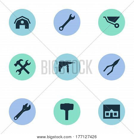 Vector Illustration Set Of Simple Wrench Icons. Elements Spanner, Carpentry Equipment, Workshop And Other Synonyms Hangar, Screwdriver And Electric.