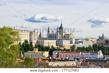 Panoramic view to Santa Maria la Real de La Almudena cathedral and Royal Palace in Madrid Spain