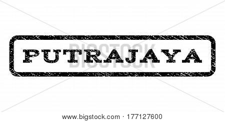 Putrajaya watermark stamp. Text tag inside rounded rectangle frame with grunge design style. Rubber seal stamp with scratched texture. Vector black ink imprint on a white background.