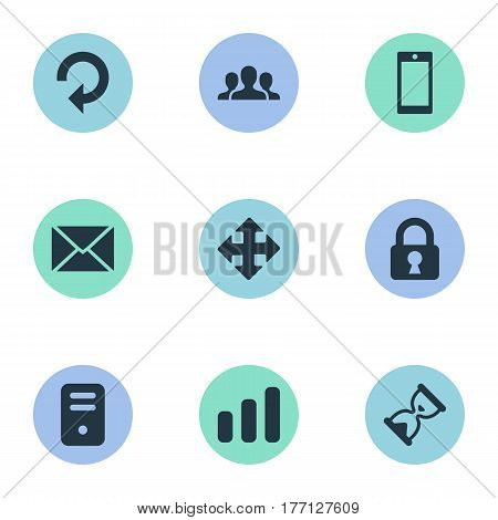 Vector Illustration Set Of Simple Apps Icons. Elements Refresh, Statistics, Smartphone And Other Synonyms Chart, Arrow And Touchscreen.