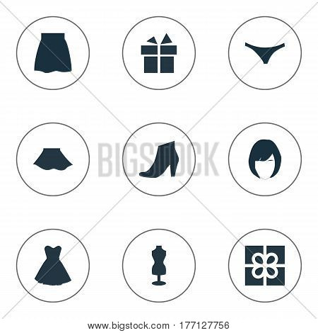 Vector Illustration Set Of Simple Garments Icons. Elements Mannequin, Present, Attire And Other Synonyms Giftbox, Panties And Model.