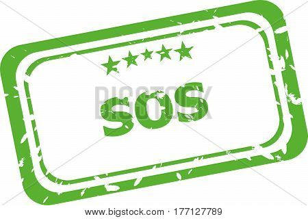Sos Grunge Rubber Stamp Isolated On White Background