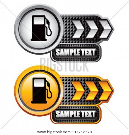 gas pump icon gold and white arrow nameplate banners