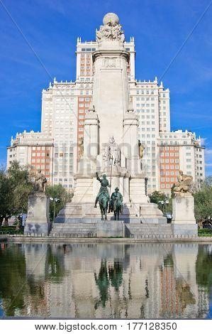 Monument to Miguel de Cervantes Saavedra on Plaza de Espana in Madrid Spain