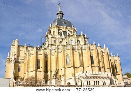 Eastern side of Santa Maria la Real de La Almudena cathedral in Madrid Spain