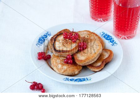 Pancakes With Berries Red Currant And Juice