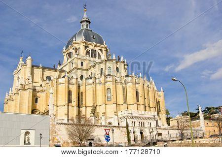 Santa Maria la Real de La Almudena cathedral in Madrid Spain