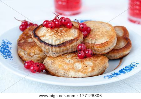 Pancakes With Berries Red Currant, Dessert For Breakfast