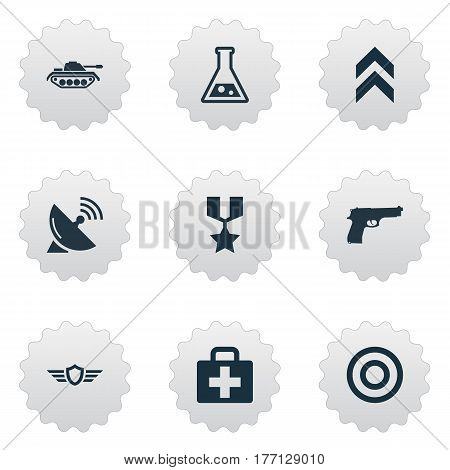 Vector Illustration Set Of Simple Army Icons. Elements Chemistry, Heavy Weapon, Rank And Other Synonyms Gun, Insignia And Badge.