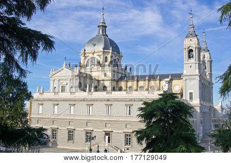 Northern side of Santa Maria la Real de La Almudena cathedral in Madrid Spain