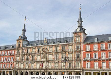 Bakery house (Casa de la Panaderia) on Plaza Mayor in Madrid Spain