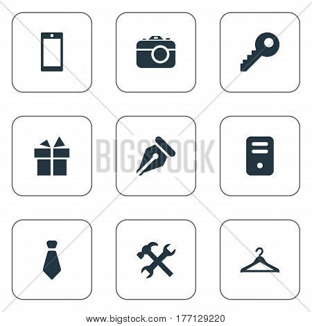 Vector Illustration Set Of Simple Accessories Icons. Elements Hanger, System Unit, Cravat And Other Synonyms Photographing, Present And Ink.
