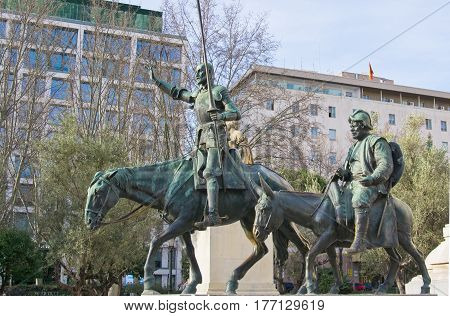 Bronze statues of Don Quixote and Sancho Panza in Madrid Spain