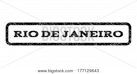 Rio De Janeiro watermark stamp. Text caption inside rounded rectangle frame with grunge design style. Rubber seal stamp with dirty texture. Vector black ink imprint on a white background.