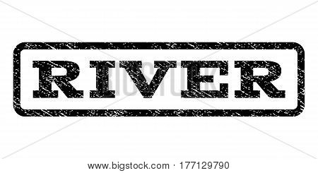 River watermark stamp. Text tag inside rounded rectangle frame with grunge design style. Rubber seal stamp with scratched texture. Vector black ink imprint on a white background.